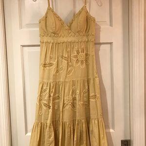 Sue Wong Dresses - Sue Wong Yellow Gold Cotton Summer Midi Dress